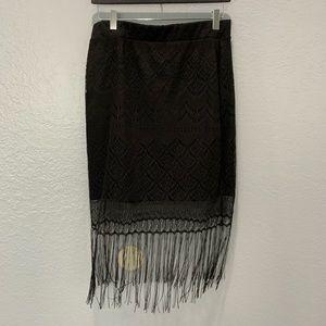 Bebe laced overlay fringe skirt